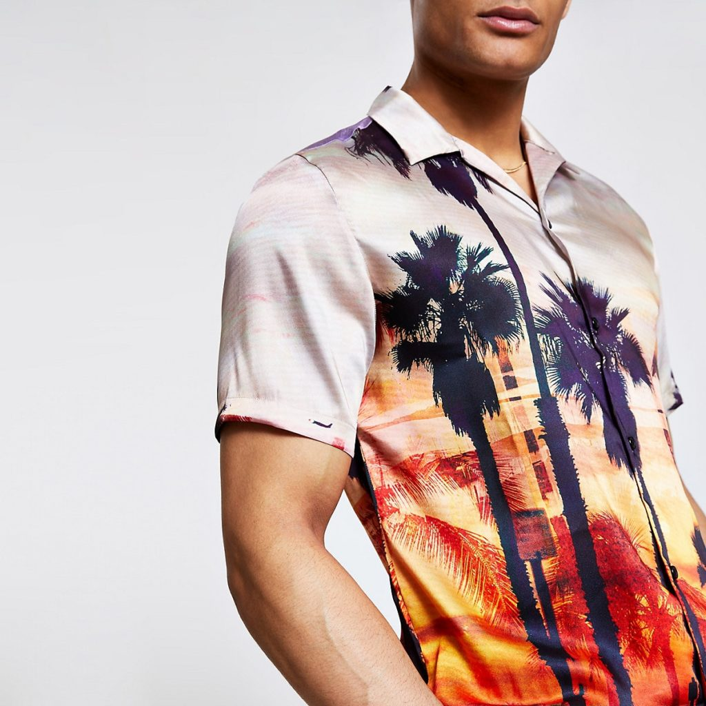 Orange palm print shirt $56.00
