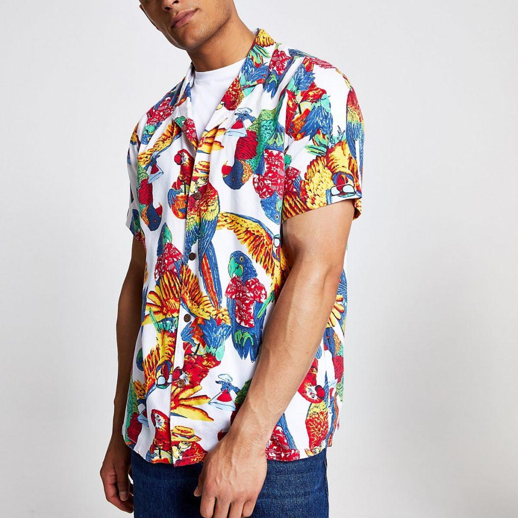 Levi's white parrot short sleeve shirt $90.00