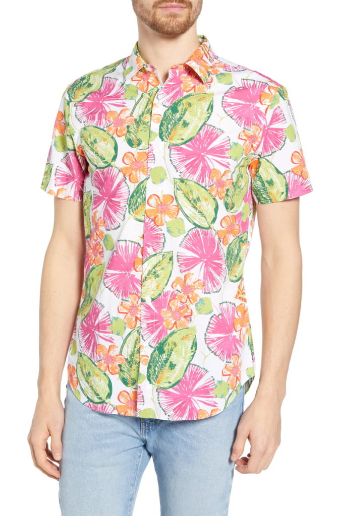 Amalfi Premium Slim Fit Floral Print Cotton Sport Shirt BONOBOS $138.00