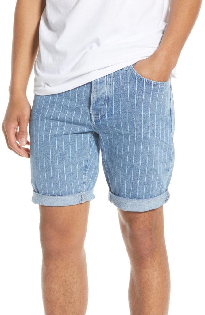 Stripe Skinny Denim Shorts TOPMAN $65.00