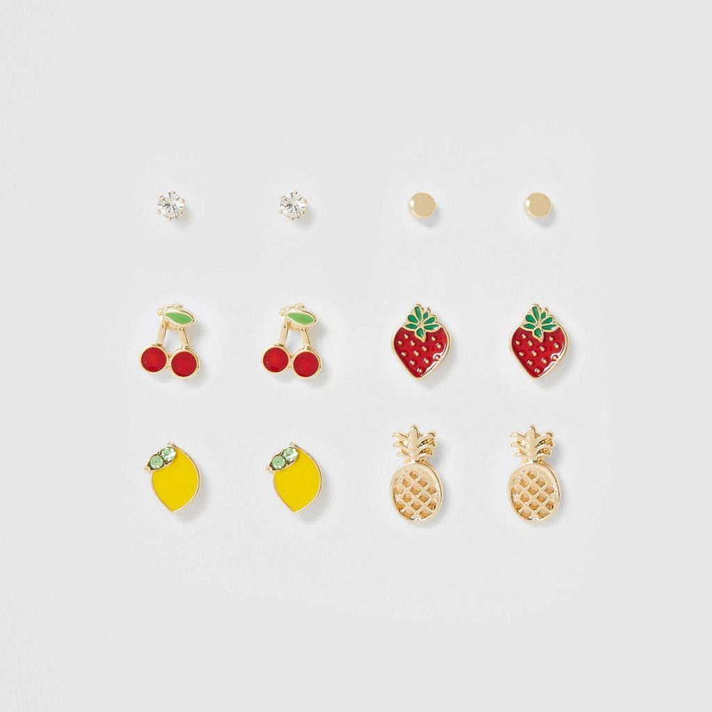 Gold color mixed fruit earrings multipack $20.00
