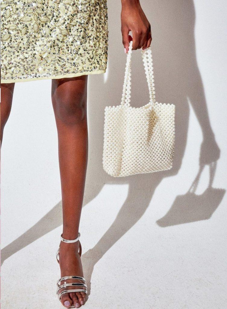White Pearl Beaded Shopper Bag $55.00