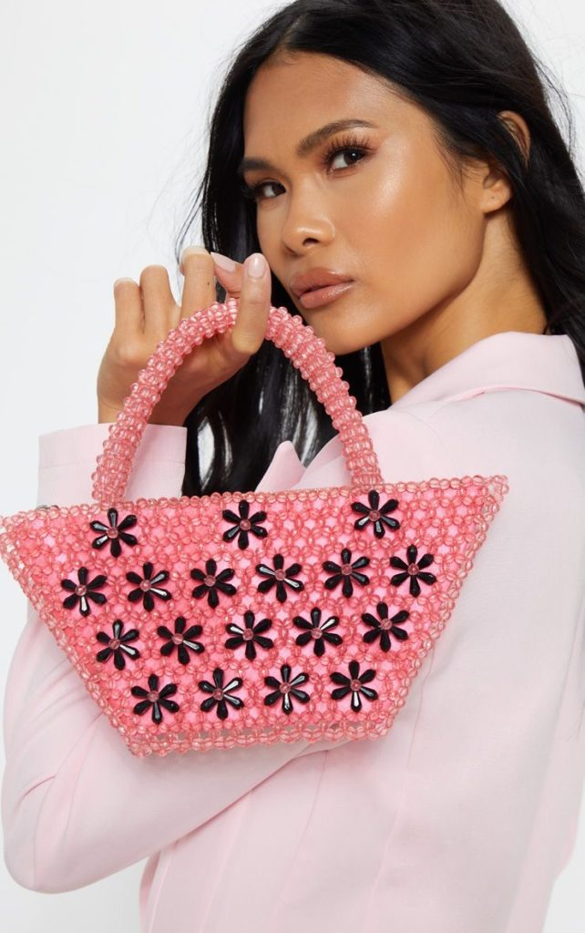 PINK BEADED MINI BAG WITH BLACK FLOWERS $28.00