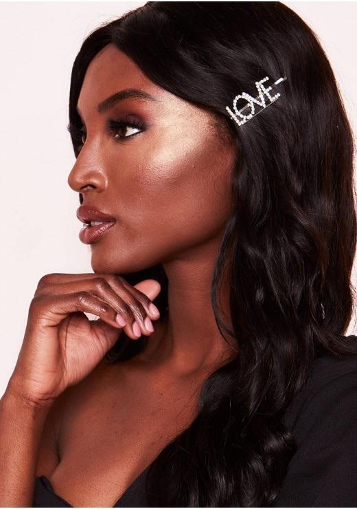 Emmie Silver Diamante Love Slogan Hair Clip$6.65