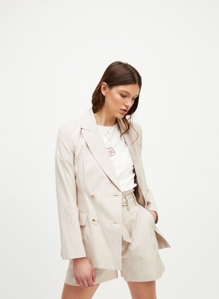 Beige Faux Linen Double Breasted Blazer$106.00