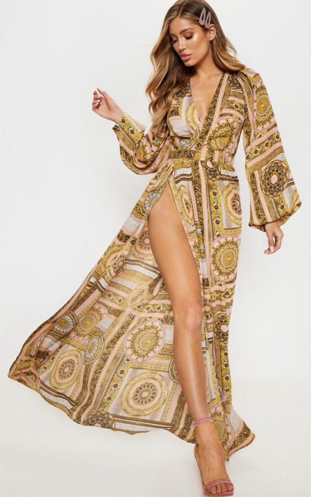 PINK PAISLEY V NECK SPLIT MAXI DRESS$62.00