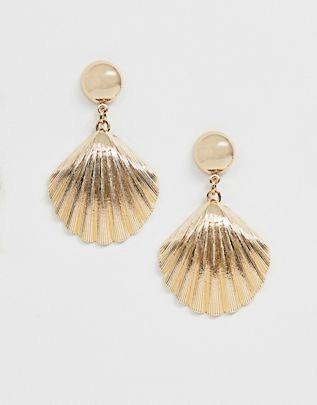 shell earrings in gold $9.50