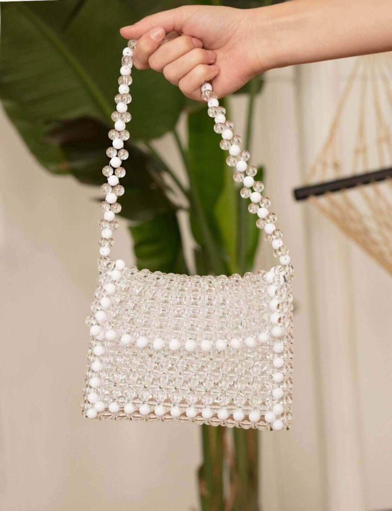 WHITE BEADED BAG $119.00