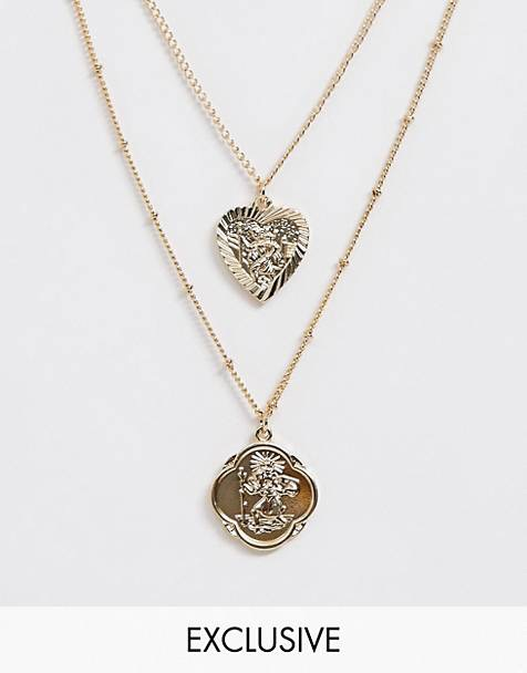 Reclaimed Vintage inspired multi row heart and roman medallion necklace $13.00