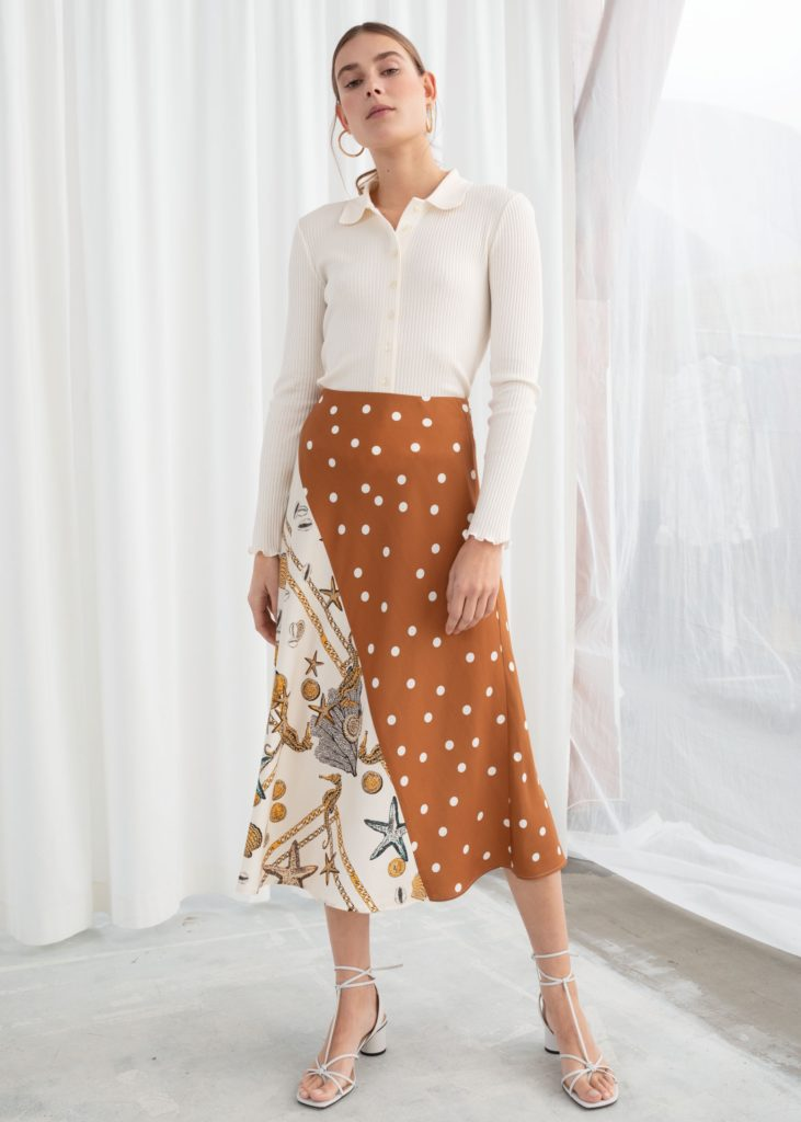 Polka Dot Seashell Satin Midi Skirt $79