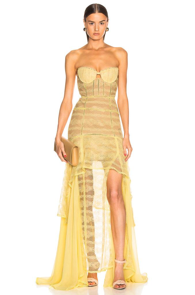 JONATHAN SIMKHAI Embroidered Chiffon Bustier Gown $1,295