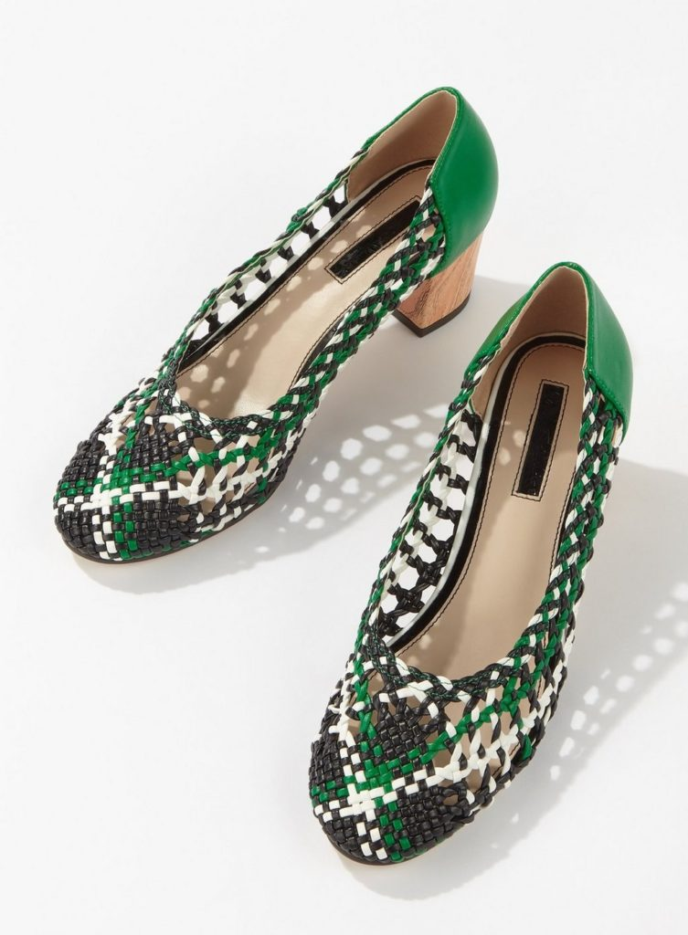 CLEMENTINE Dark Green Woven Court Shoes $57.00