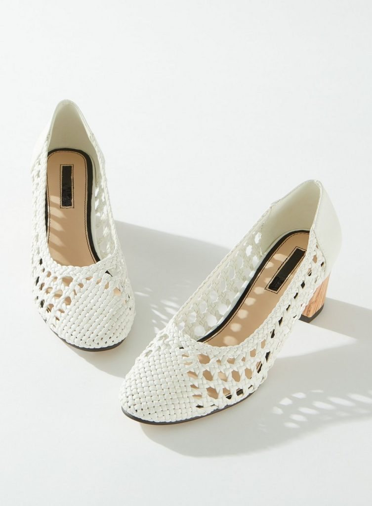 CLEMENTINE White Woven Court Shoes $57.00