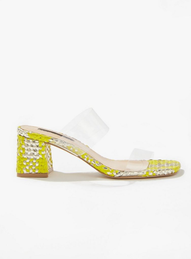 Lime Special Woven Perspex Mules $68.00