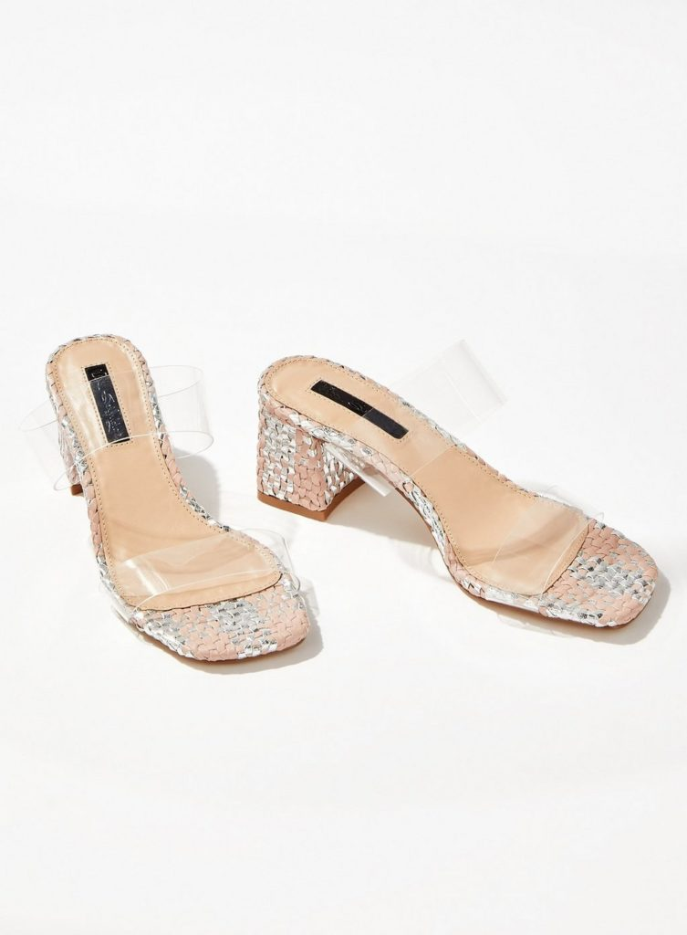 Woven Perspex Mules $68.00