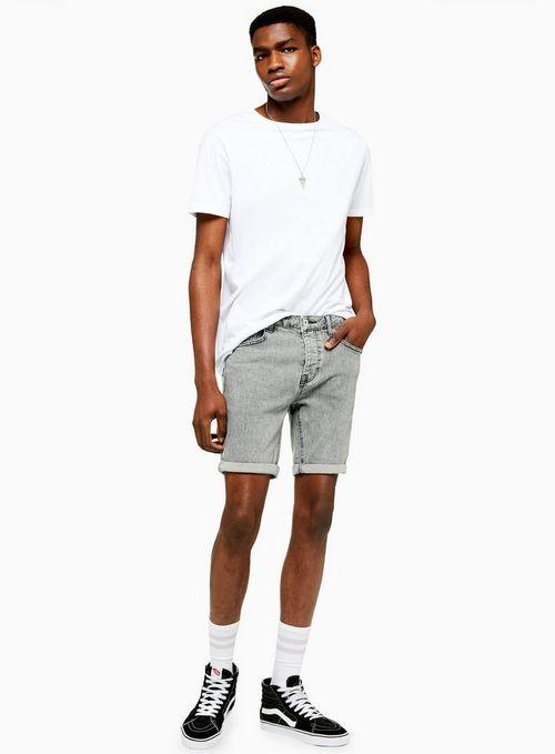 Grey Stretch Skinny Fit Acid Wash Shorts$65.00