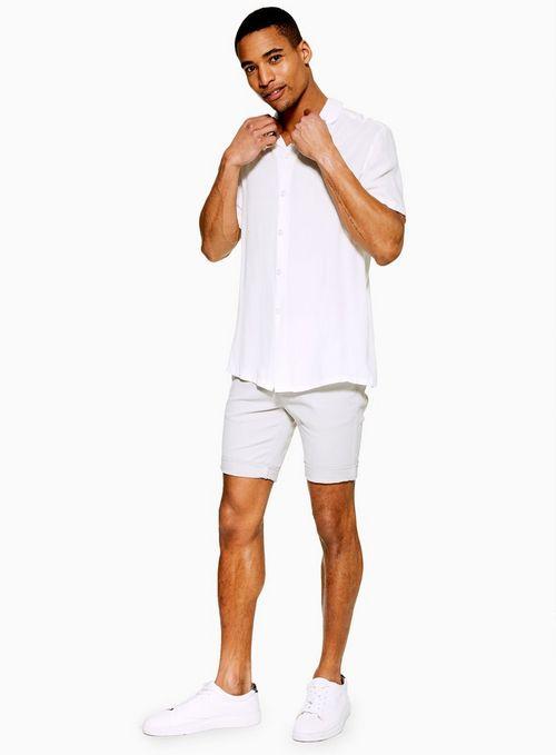 Light Grey Stretch Skinny Chino Shorts $35.00