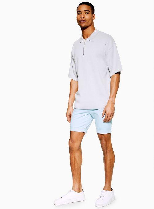 Light Blue Stretch Skinny Chino Shorts $35.00