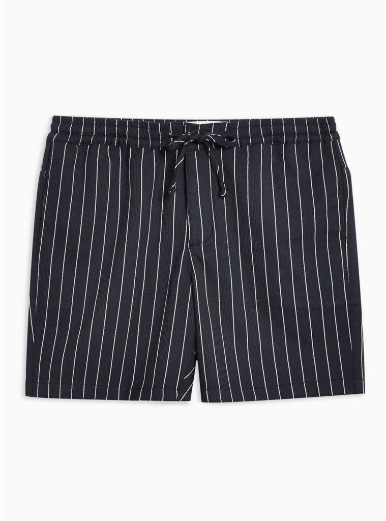Navy Pinstripe Pull On Shorts $55.00