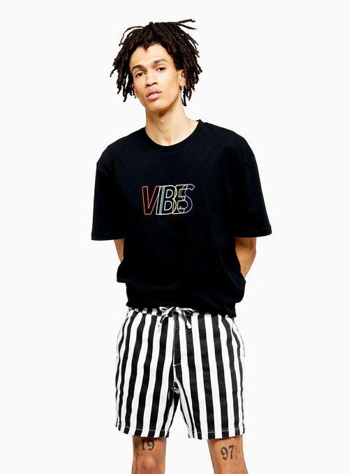 Black And White Stripe Pull On Short $55.00
