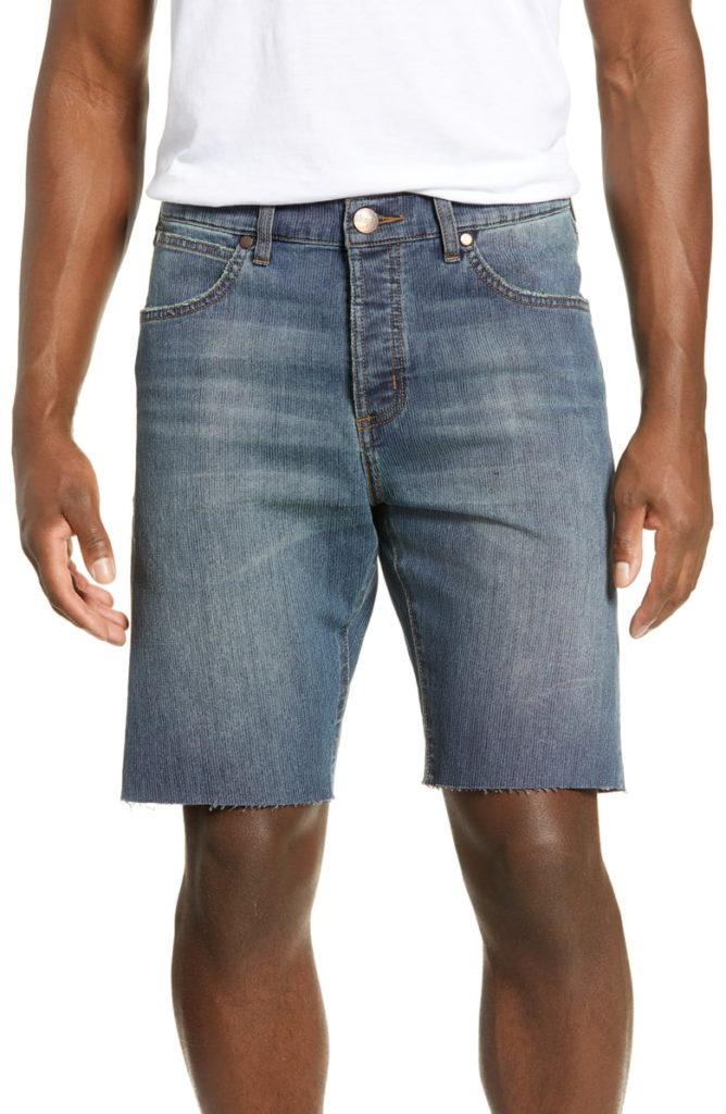 Slider Tapered Cut Off Denim Shorts $78.00