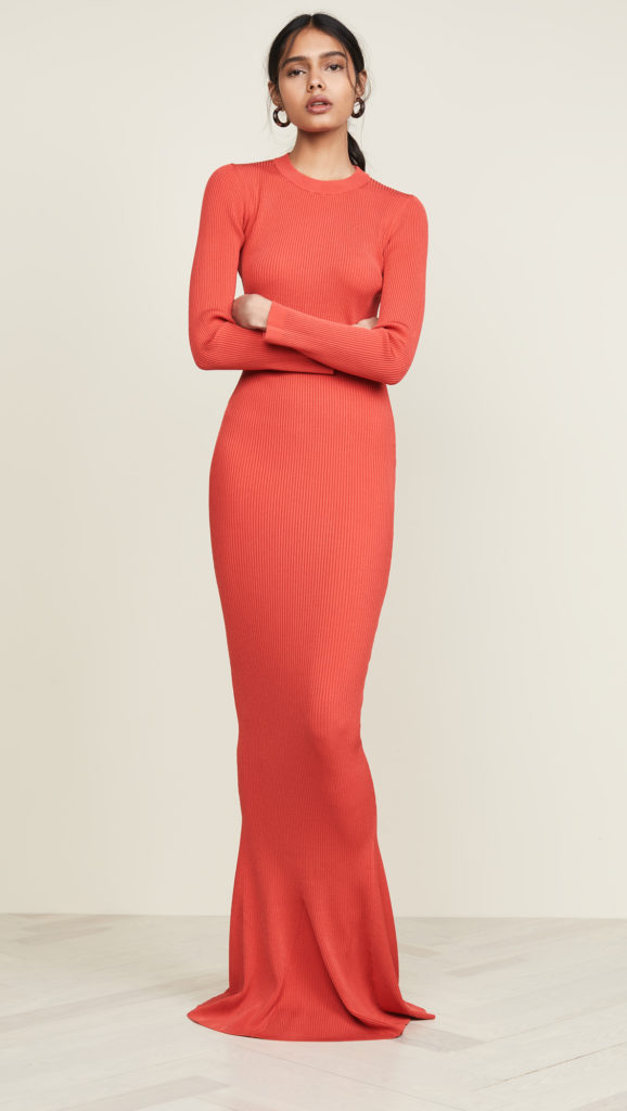 Brandon Maxwell Long Sleeve Full Length Knit Gown $1,195.00