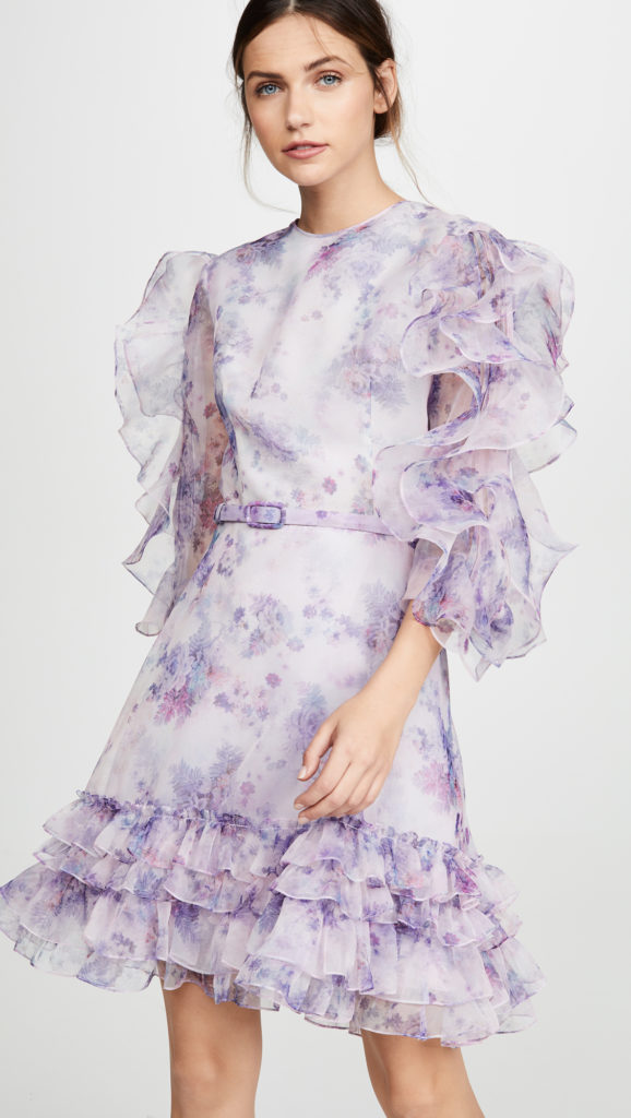 Costarellos Frilled Sleeve Mini Dress $1,675.00