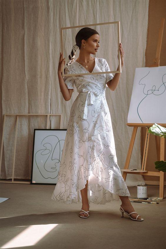 Wrap Midi Dress White $83.95