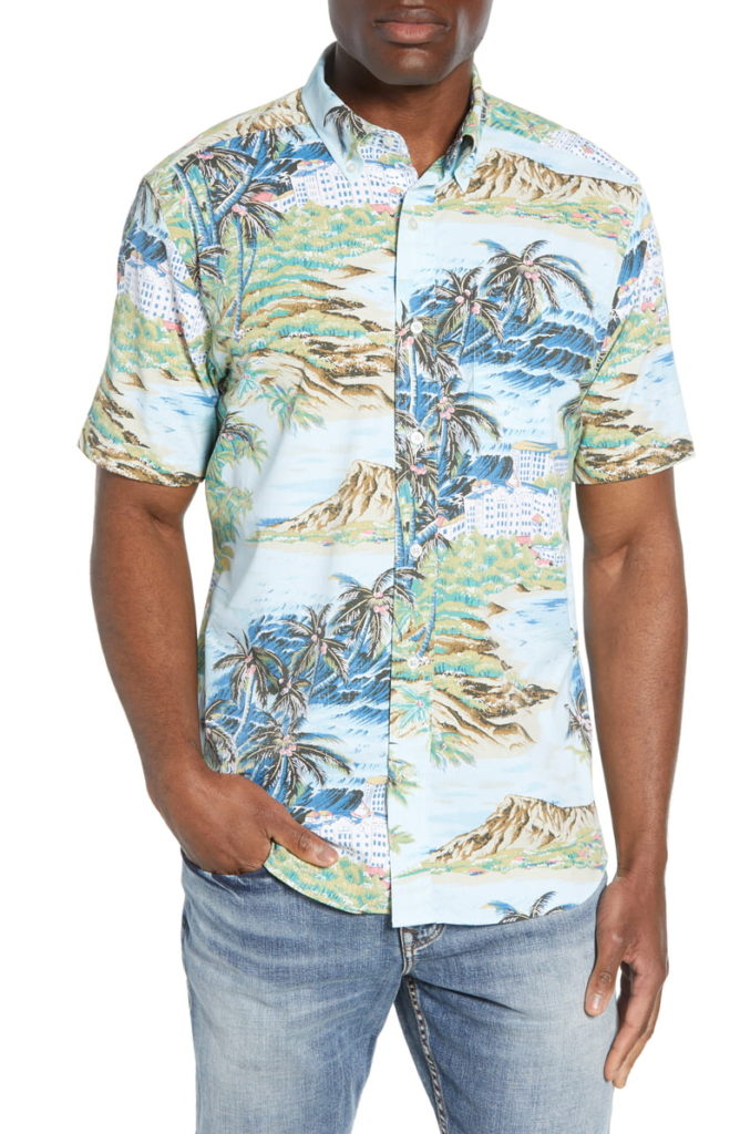 Reyn Spooner Island Time Regular Fit Short Sleeve Performance Button-Down Sport Shirt $110.00