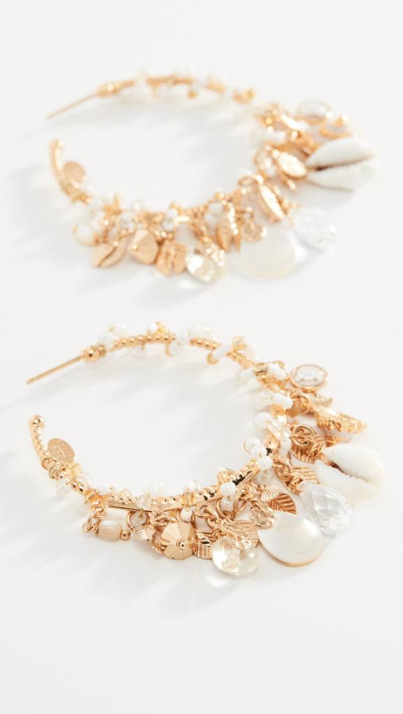 GAS Bijoux Beaded Shell Hoop Earrings $185.00