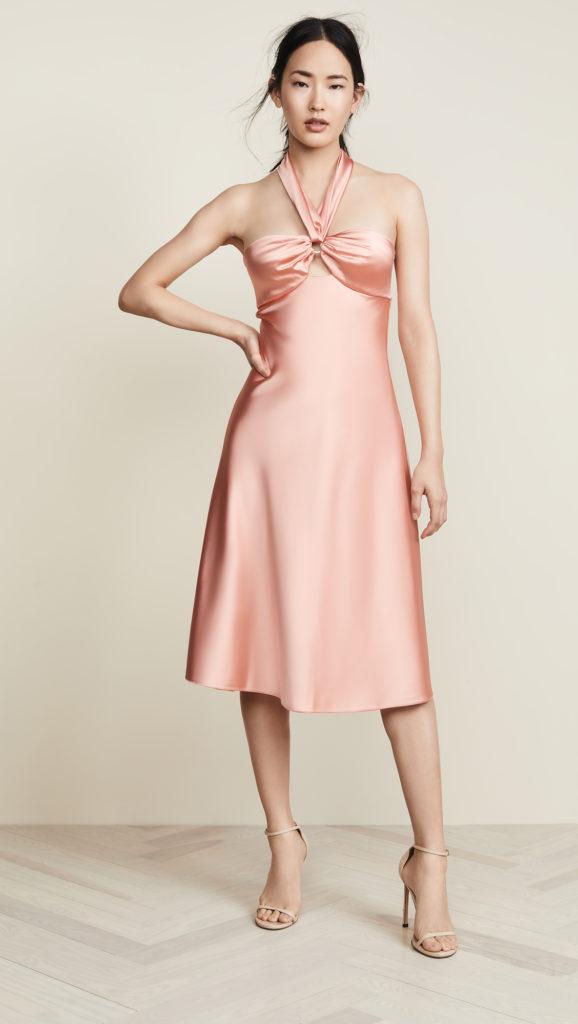 Jonathan Simkhai Structured Sateen Halter Slip Dress $595.00
