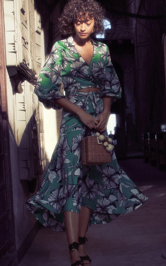 Alexis Lyons Floral-Print Crepe De Chine Midi Skirt $385.00