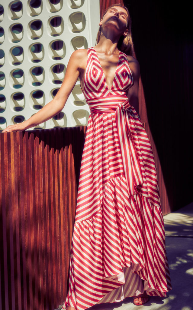 Alexis Oksana Striped Satin Maxi Dress $715.00