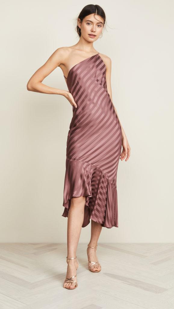 Michelle Mason One Shoulder Ruffle Hem Dress $735.00