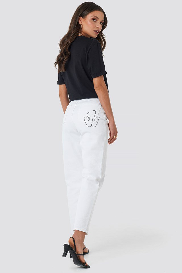 Pocket Embroidered Jeans White $53.95
