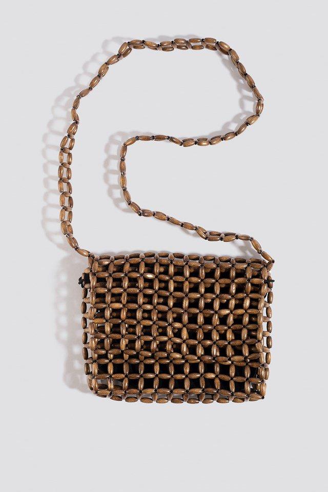 Wooden Pearl Flap Bag Brown $47.95