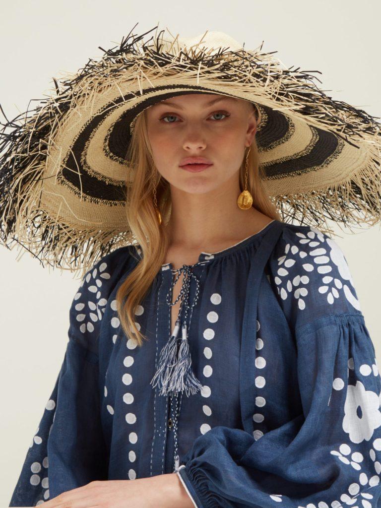 LOLA HATS Porcupine fringed raffia hat $347