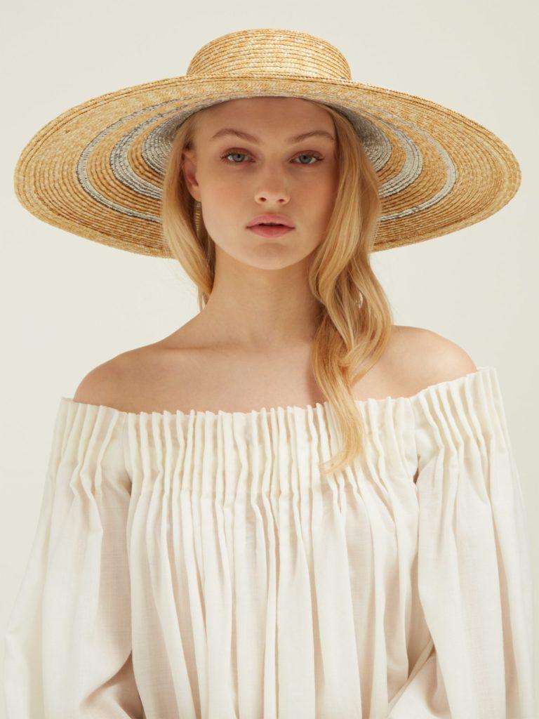 MAISON MICHEL Bianca metallic-stripe straw hat $835