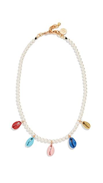 Venessa Arizaga Rainbow Shell Swarovski Crystal Pearl Necklace $150.00