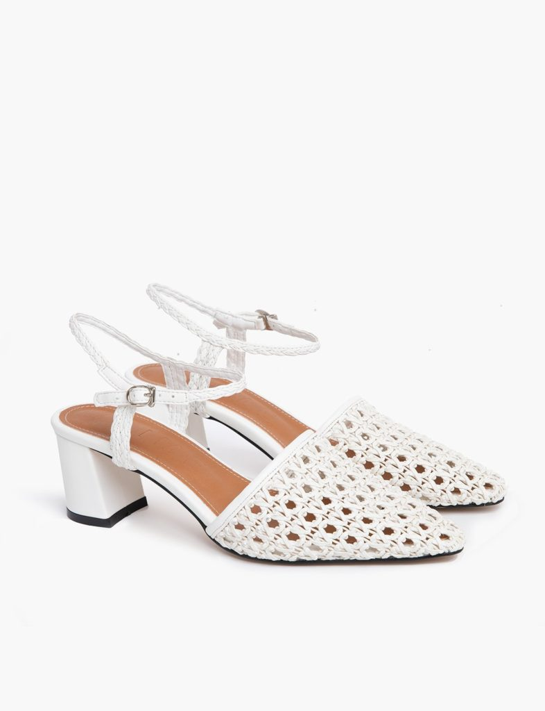 WHITE WOVEN HEEL SANDALS $86.00