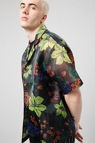 Floral Print Organza Shirt $22.90