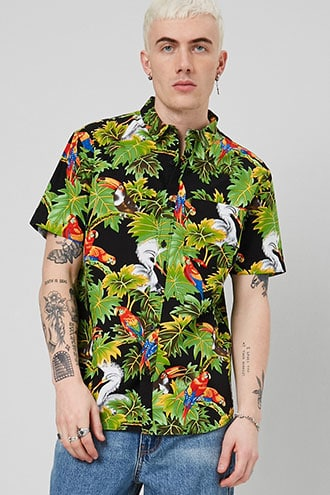 Bird & Leaf Print Fitted Shirt $17.90