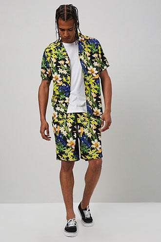 Tropical Floral Print Shorts $19.90