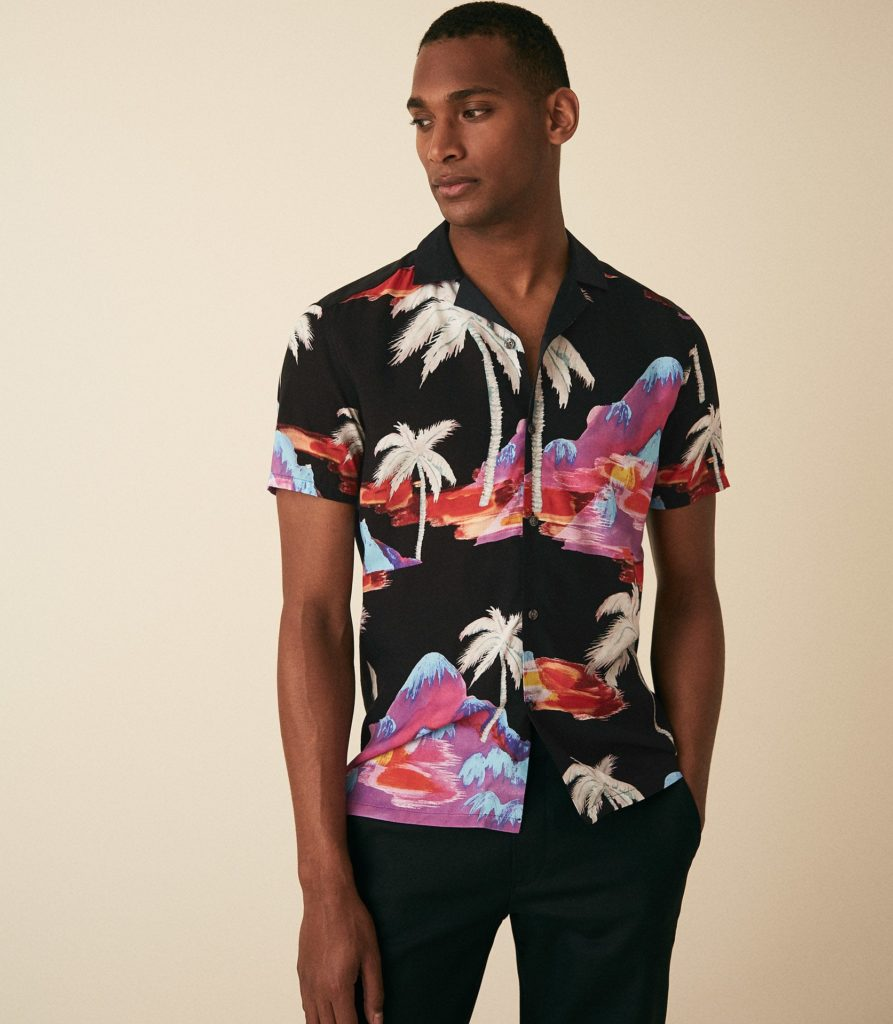 HIGGS PALM PRINTED CUBAN COLLAR SHIRTBLACK $160