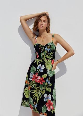 Linen tropical dress $99.99