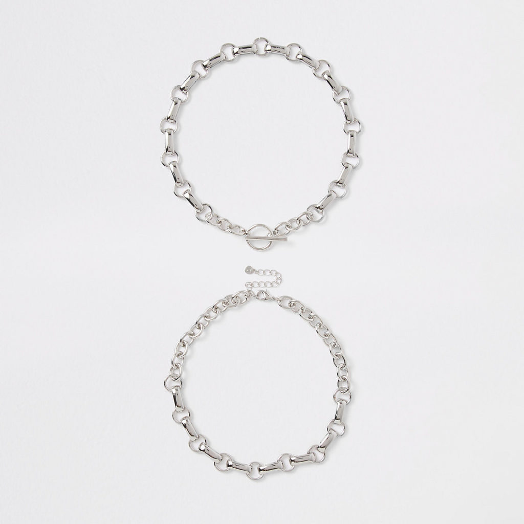 Silver color chain link T bar necklace $28.00