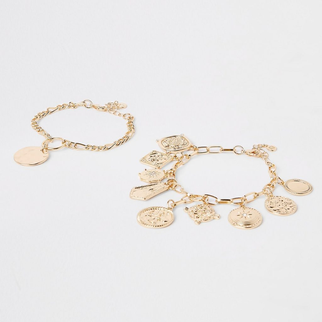 Gold color charm bracelet pack $28.00