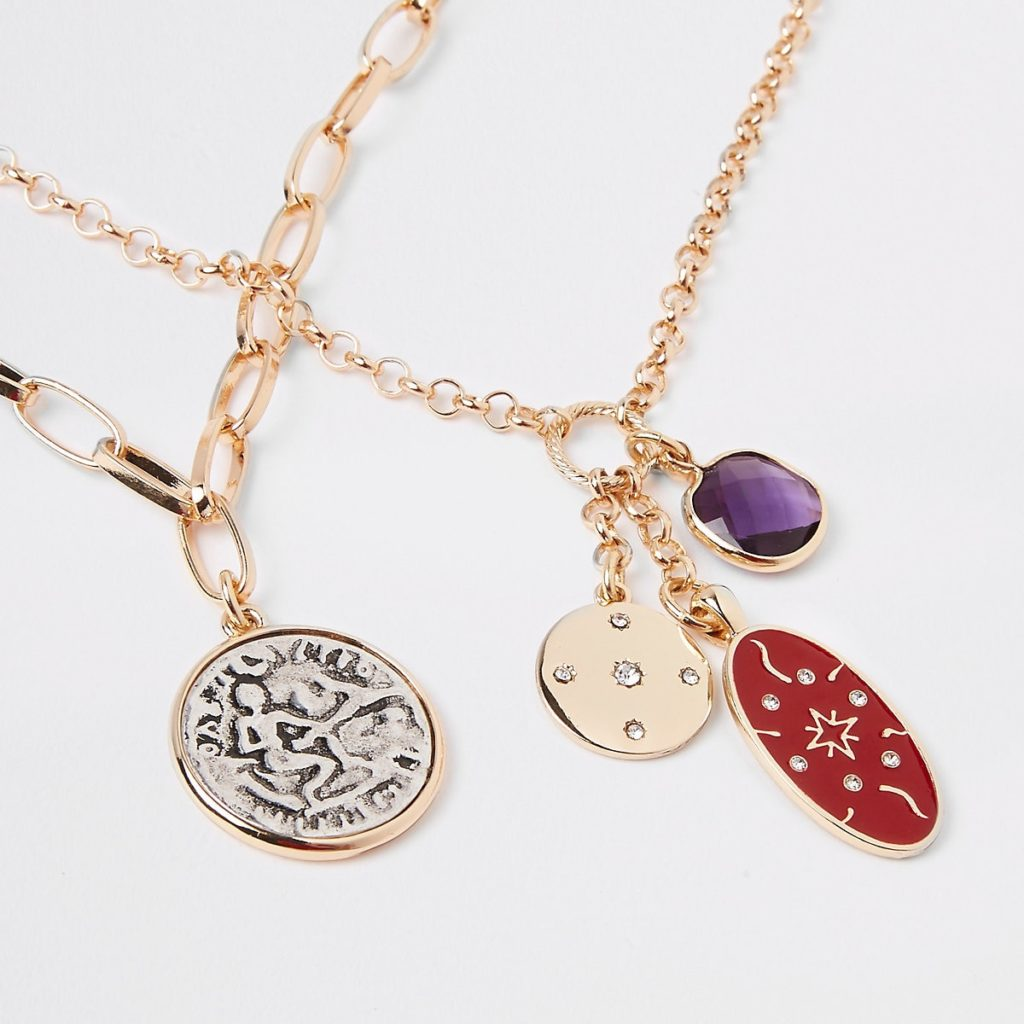 Gold tone oval coin chain necklace multipack $28.00