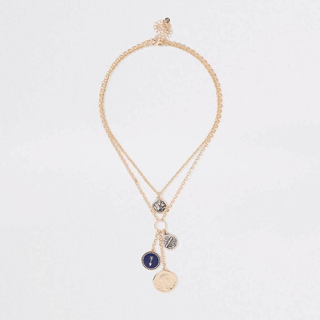 Gold color coin layered necklace $28.00