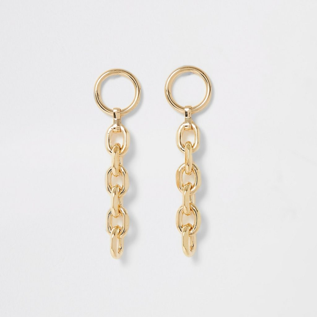 Gold color chain drop earrings $20.00